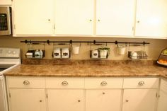 A decorative way to keep clutter off the counters!