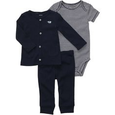 Carter's Boys Elephant 3 Piece Set with Embroiderd Cardigan, Bodysuit... ❤ liked on Polyvore featuring baby, baby boy, baby boy clothes and baby clothes