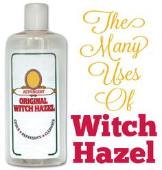Repin: I always have a bottle (or three) of this in my house.  Amazing Witch Hazel…The Medicinal Marvel With The Funny Name! // used for relief of swelling, hemorrhoids, facial cleansing, acne, scars & stretch marks, diaper rash, bags under eyes, varicose veins, soothe chicken pox, heal bruises, cuts & scrapes, soothe razor burn, sunburn, sore throat, gums, cold sores, lots more