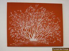 Large Vintage Orange with White Tree Finnish Textile Wall Art