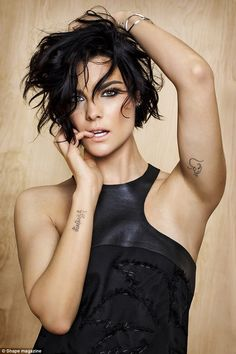 Lovely lady: Jaimie's short raven-coloured tresses were dishevelled as she sported smokey ...