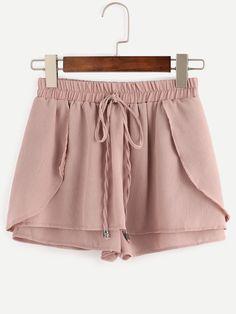 Pink Drawstring Waist Wrap Shorts