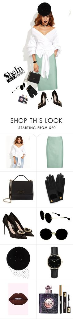 """""""Shein: Off Shoulder Surplice Top"""" by tharwawajihahzainal ❤ liked on Polyvore featuring WithChic, Armani Collezioni, Givenchy, Mulberry, Miu Miu, Victoria Grant, ROSEFIELD, Yves Saint Laurent, Sheinside and shein"""