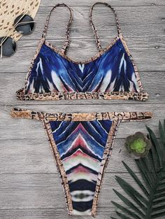 2df4f1b1803f3 Leopard Piping Bralette High Cut Bikini Set