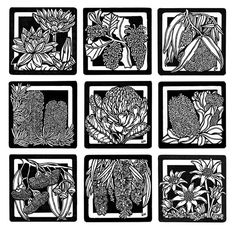 Wildflowers Linocut • Lynette Weir - I like their detail, though mine would be much smaller, round and without that dark background
