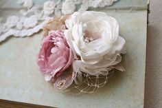 Wedding Bridal Hair Accessory Bridal Flower Hairpiece Hair Clip Vintage Style Wedding Fascinator Shabby Chic Ivory Pink Rose Lace Veil