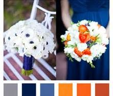 Wedding, navy orange weddings, orange wedding flowers, grey flowers, gray w Navy Orange Weddings, Orange Wedding Colors, Fall Wedding Colors, Gray Weddings, Wedding Color Schemes, Fall Wedding Centerpieces, Fall Wedding Bouquets, Fall Wedding Flowers, Wedding Decorations