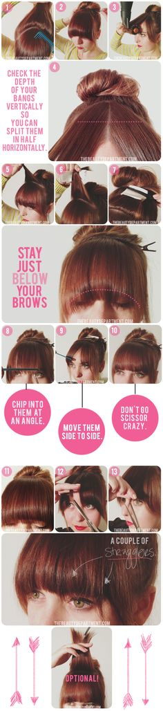 DIY bang trim. This is ingenious! I'm always struggling with cutting my own bangs, I should print this out and save this for when I next need a trim...which is soon, my bangs are getting too long. << Totally works! <3