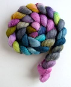 Polwarth/Silk Roving Hand Painted Spinning or by threewatersfarm Jewel Colors, Colours, Silk Wool, Color Inspiration, Spinning, Crochet Necklace, Fiber, Hand Painted, Felting