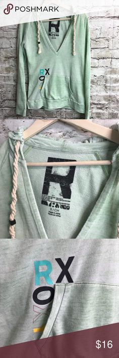 """ROXY Brand Mint Green Baggie Pull Over Shirt Small ROXY Brand mint free pull over shirt. Perfect for after a workout or after swimming. Pockets in the front, attached hood & trendy draw strings!  Shipping: I normally ship in one day (maybe 2).   Please check out all the pictures above because they are part of the description. Thank you for looking and I invite you to check out my other listings for more deals!  BUNDLE YOUR """"LIKES"""" & I'll send you a private discounted offer! Roxy Tops Blouses"""