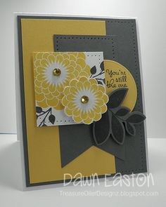 handmade card fromTreasure Oiler Designz  ... trendy gray and yellow color scheme ... lots of layers ... Mojo Monday 300 sketch ... like how this is put together ...
