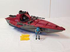 Vintage 80s GI Joe Vehicle Cobra Hydrofoil Moray Boat Lampreys Action Figure Toy #Hasbro