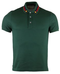 Gucci Web Trim & Bee Collar Polo T-Shirt Gucci Shirts Men, Gucci Polo Shirt, Polo T Shirts, Gucci Men, Cool Shirts, Polo Outfit, Mens Clothing Styles, Tshirts Online, Mens Tees