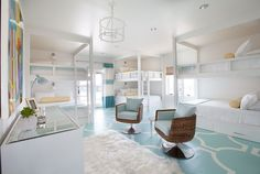 House of Turquoise: Tracy Hardenburg Designs - bunk room with painted floors House Of Turquoise, Turquoise Room, Built In Bunks, Built Ins, Modern Bunk Beds, Bunk Rooms, Bunk Bed Designs, Kids Bunk Beds, Loft Spaces