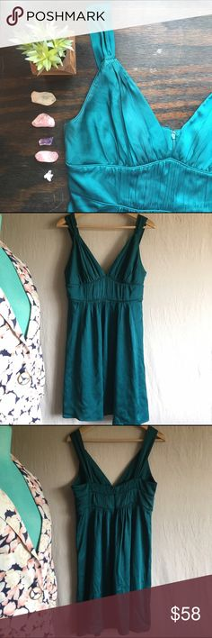 BR•Emerald Silk Cocktail Dress Gorgeous detailed silk dress! I just love the emerald green color, too. Excellent preowned condition. Banana Republic Dresses