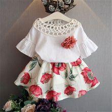 Малышей Одежда для детей; малышей; девочек Футболка Топы + юбка платье летняя одежда комплект из 2 предметов(China)