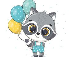 Baby Raccoon, Cute Raccoon, Balloon Illustration, Cute Illustration, Baby Animal Drawings, Cute Drawings, Drawing Sketches, Baby Shower Greeting Cards, Birthday Clips