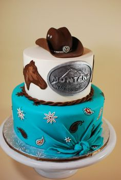Cow Girl Birthday Cake - This cake is based on a design by Ana Beatriz Carrard that I saw on Pinterest. Bandana tier is covered in fondant, belt buckle, horse heads, and cow girl hat was all made from modeling chocolate