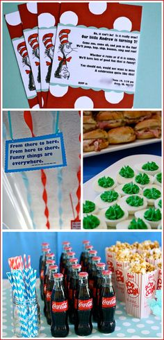 Dr. Seuss Birthday Party in Red & Blue  Green Eggs and Ham and Thing 1 & 2 Cupcakes