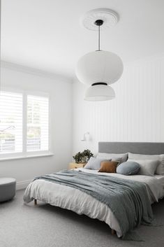 Statement lighting steals the show in this Californian bungalow renovation - Modern Tan Bedroom, Bedroom Decor, Bedroom Ideas, Bedroom Modern, Master Bedroom, Master Suite, White Bedrooms, Contemporary Bedroom, White Bedroom Walls