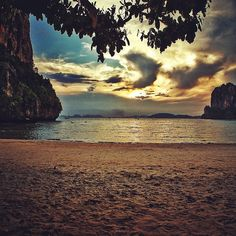 Serene Thai beach sunset