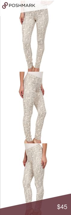 HUE Tonal Python Leatherette Leggings in Natural Never worn, NWT, size small.  These were given to me as a gift and I just haven't gotten around to wearing them. Super cute!  Can be dressed up or down. HUE Pants Leggings