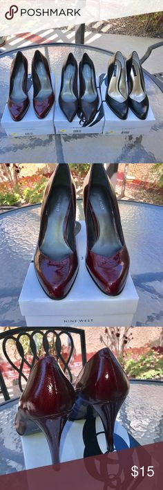 """👠3 Pair for $40 Alert, size 10 Ladies!  I have 3 pair of gorgeous Nine West pumps 👠 .  3 1/2"""" heels. Each only worn once or just in the house . Don't know what I was thinking!  My feet do not like to wear pumps. Colors , black, brown and wine. Let me know if you want more pictures. Price is for all three pair. Thanks for looking.  Please Check out other items in my closet . Nine West Shoes Heels"""