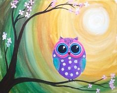 Le petit Hoot. A small owl on a branch in forest moonlight. Big eyes looking back at its creator. Fun to paint and easy too. Personal Painting Part Must By Cinnamon Cooney for Hart Party