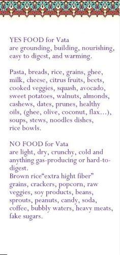 Vata food