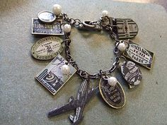 How to Make a Charm Bracelet - the charms are made from shrink plastic, broken china and Tim Holtz supplies - Yours Artfully: Travel Bracelet Tutorial Charm Jewelry, Jewelry Crafts, Jewelry Art, Beaded Jewelry, Jewelry Bracelets, Vintage Jewelry, Jewelry Accessories, Handmade Jewelry, Jewelry Design