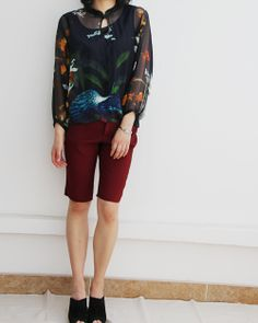 Floral and Bird Spring Painting Silk Blouse