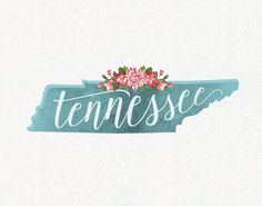 Floral & Watercolor Tennessee Print // Multiple Sizes by Design615 // #Design615 // #Printable