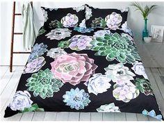 3D Succulent Plant Printed Polyester 3-Piece Black Bedding Sets/Duvet Covers