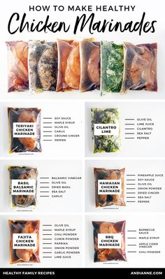 Six healthy chicken marinade recipes for easy dinners. These marinades are delic. - Six healthy chicken marinade recipes for easy dinners. These marinades are delicious and healthy an - Healthy Meal Prep, Healthy Snacks, Healthy Dinner Recipes, Healthy Freezer Meals, Healthy Cheap Meals, Healthy Lunch Ideas, Healthy Fridge, Healthy Choices, Lunch Meal Prep