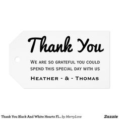 Thank You Black And White Hearts Floral Wedding Gift Tags