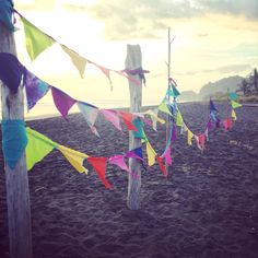 Happiness is a beach! #flags #happinessflags #happiness #rainbow #decorate #party #wedding #bohemian #tesorossagrados