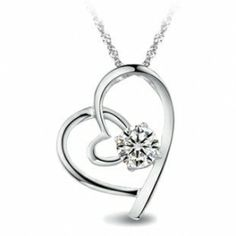 Double Hearts Sterling Silver CZ Necklace | Aimeng-silver.com