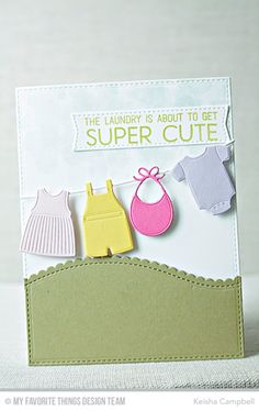 Welcome Baby Stamp Set, Bundle of Baby Clothes Die-namics, Stitched Scallop Basic Edges 2 Die-namics, Blueprints 20 Die-namics - Keisha Campbell  #mftstamps