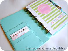 DIY planner, with link to printable planner pages. Very colorful and cute!