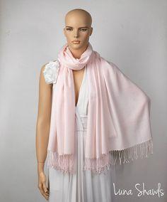 Misty Rose Shawl; Wedding Shawl; Light Pink Pashmina by LunaShawls on Etsy