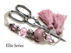 Scissor Fob Beaded Scissor Keeper Scissor Minder Elite Series Victorian Pink Silver Needlepoint Quilting Sewing Cross Stitch (21.95 USD) by TJBdesigns