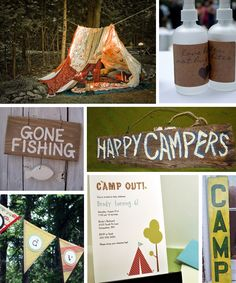 """Love the tent and spray.  Again, more of a party idea.  Might need this """"Happy Campers"""" sign on my classroom door."""