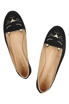 Charlotte Olympia cat nap embroidered satin slippers.