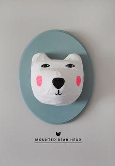 DIY Mounted Bear Head Wall Decor | MerMag http://onemoremushroom.com/2012/06/12/to-make-mounted-squirrel/
