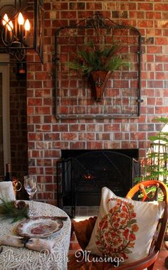 Brick Walled Back Porch with Garden Gate.....love this idea!