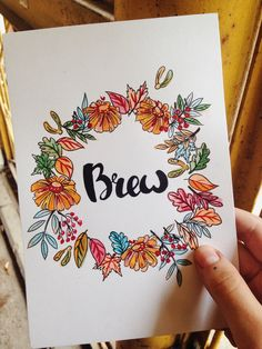 Autumn watercolor card for Brew coffeeshop