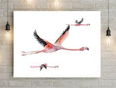 Flying Flamingo Art - Print - Flamingo Painting - Home Decor - Wall Art Pink  Animal Painting flamingo Watercolor Zen painting Flock