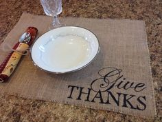 Burlap Give Thanks Placemat