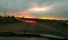 Driving into the sunset. Joburg South Africa.