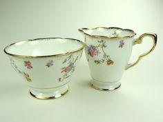 Royal Stafford Milk Jug and Sugar Bowl, Vintage Bone China Set, Violet Pompadour by Bluebowvintage on Etsy